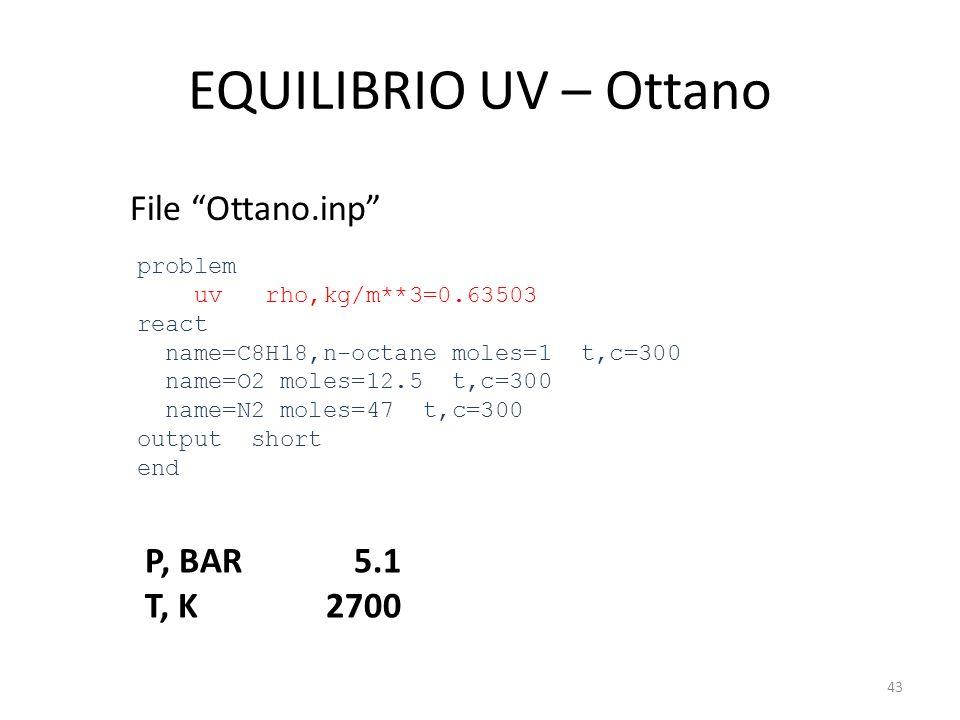 EQUILIBRIO UV – Ottano File Ottano.inp problem uv rho,kg/m**3=0.63503 react name=C8H18,n-octane moles=1 t,c=300 name=O2 moles=12.5 t,c=300 name=N2 mol
