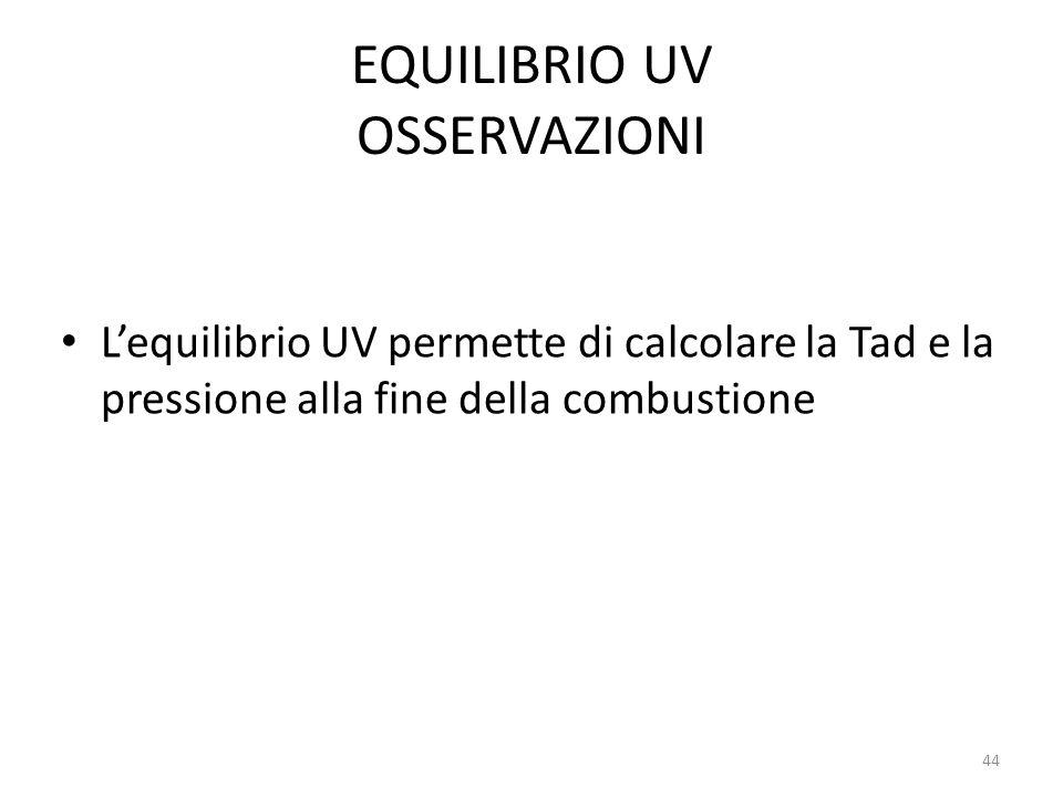 EQUILIBRIO UV OSSERVAZIONI Lequilibrio UV permette di calcolare la Tad e la pressione alla fine della combustione 44