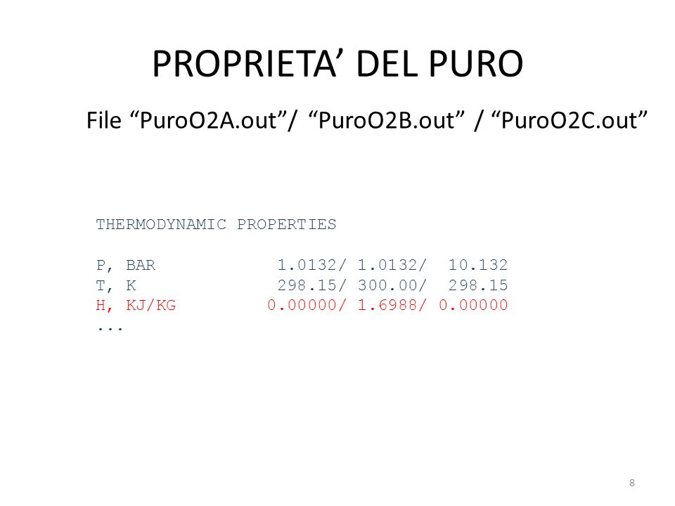 PROPRIETA DEL PURO File PuroO2A.out/ PuroO2B.out / PuroO2C.out THERMODYNAMIC PROPERTIES P, BAR 1.0132/ 1.0132/ 10.132 T, K 298.15/ 300.00/ 298.15 H, K