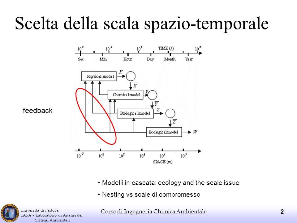 Università di Padova LASA – Laboratorio di Analisi dei Sistemi Ambientali Corso di Ingegneria Chimica Ambientale 2 Scelta della scala spazio-temporale