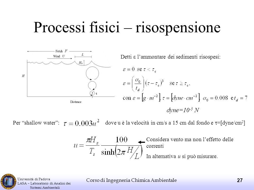 Università di Padova LASA – Laboratorio di Analisi dei Sistemi Ambientali Corso di Ingegneria Chimica Ambientale 27 Processi fisici – risospensione De