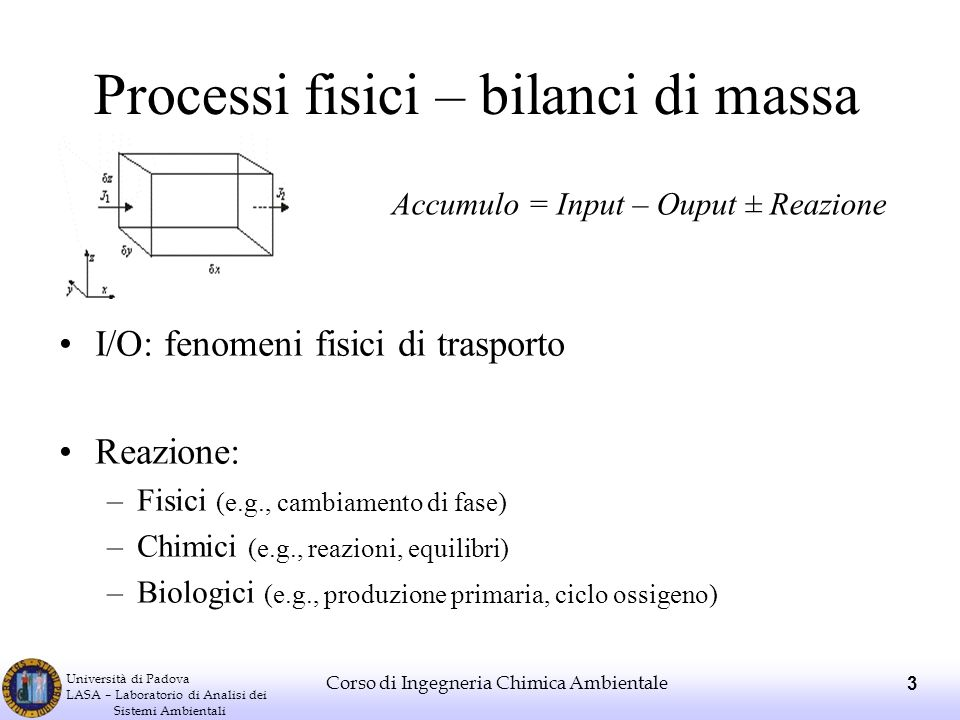 Università di Padova LASA – Laboratorio di Analisi dei Sistemi Ambientali Corso di Ingegneria Chimica Ambientale 3 Processi fisici – bilanci di massa