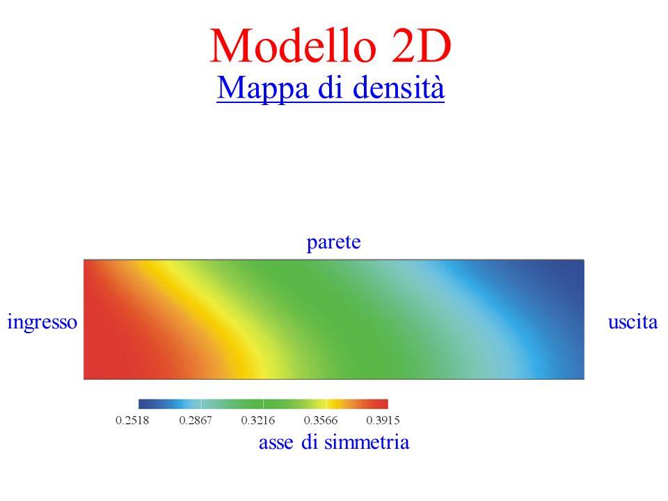 Modello 2D Mappa di densità parete ingresso uscita asse di simmetria