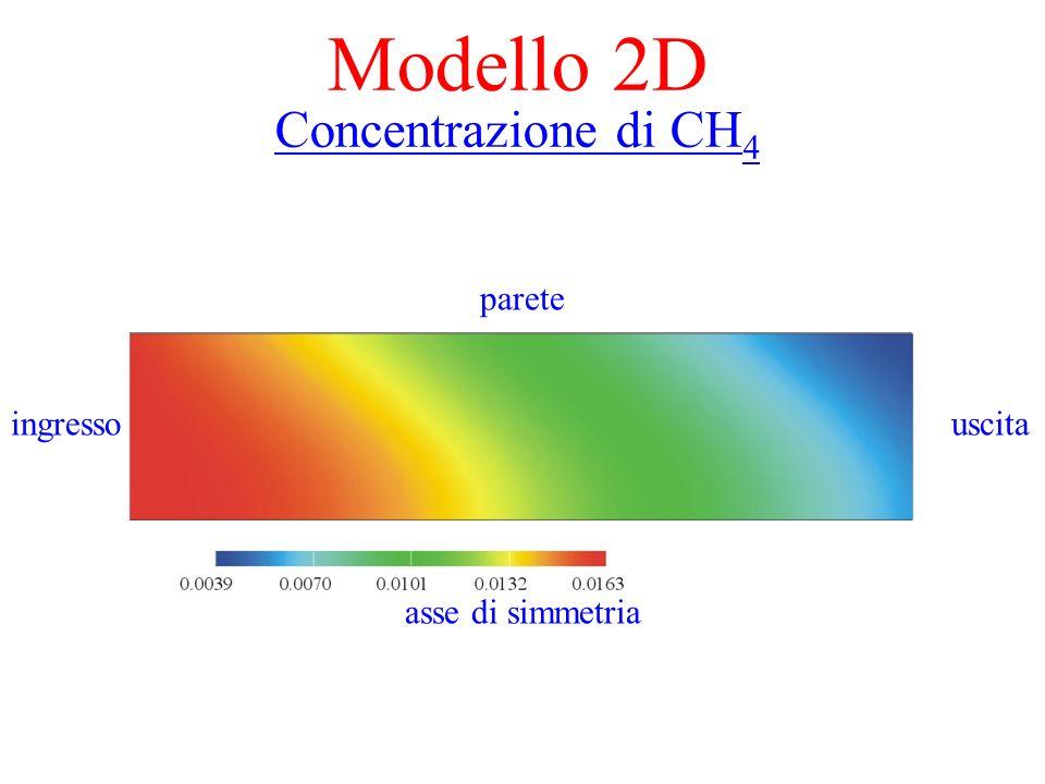 Modello 2D Mappa di temperatura parete ingresso uscita asse di simmetria