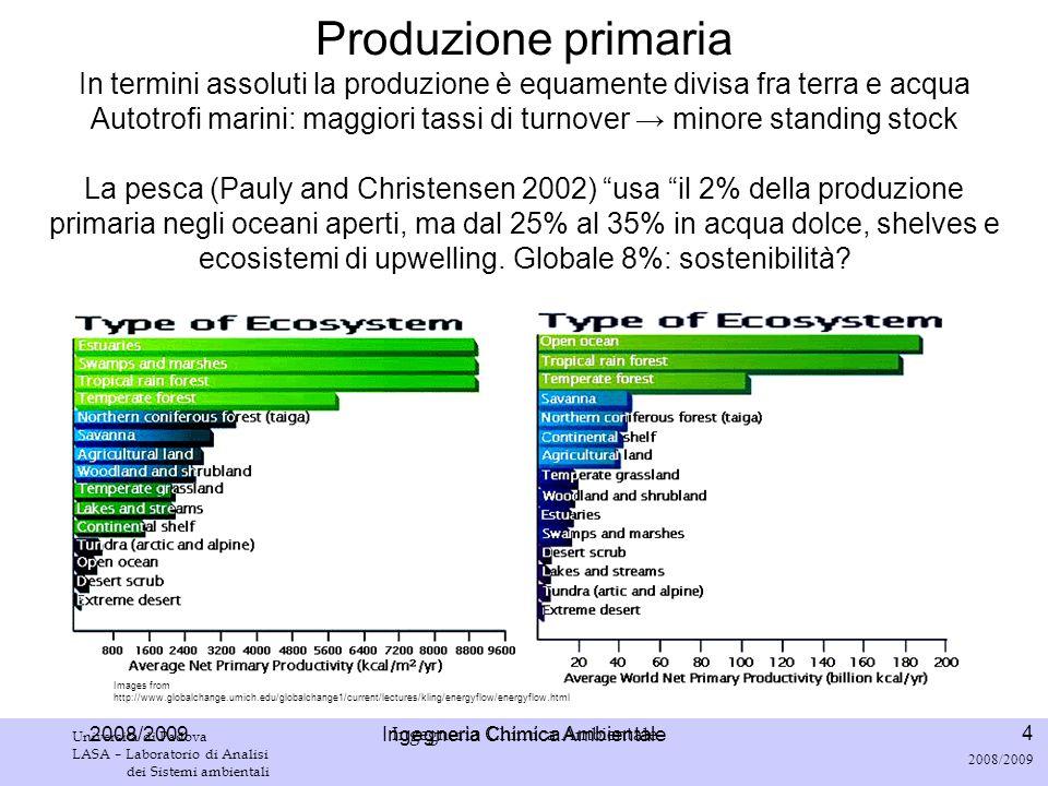 Ingegneria Chimica Ambientale Università di Padova LASA – Laboratorio di Analisi dei Sistemi ambientali 15 2008/2009 Ingegneria Chimica Ambientale Fotosintesi 6 CO 2 + 6 H 2 0 + hν C 6 H 12 O 6 + 6 O 2