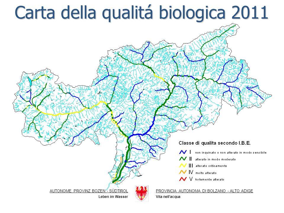 Carta della qualitá biologica 2011 AUTONOME PROVINZ BOZEN - SÜDTIROLPROVINCIA AUTONOMA DI BOLZANO - ALTO ADIGE Vita nellacqua Leben im Wasser