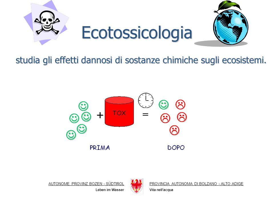 Ecotossicologia AUTONOME PROVINZ BOZEN - SÜDTIROLPROVINCIA AUTONOMA DI BOLZANO - ALTO ADIGE Vita nellacquaLeben im Wasser studia gli effetti dannosi di sostanze chimiche sugli ecosistemi.