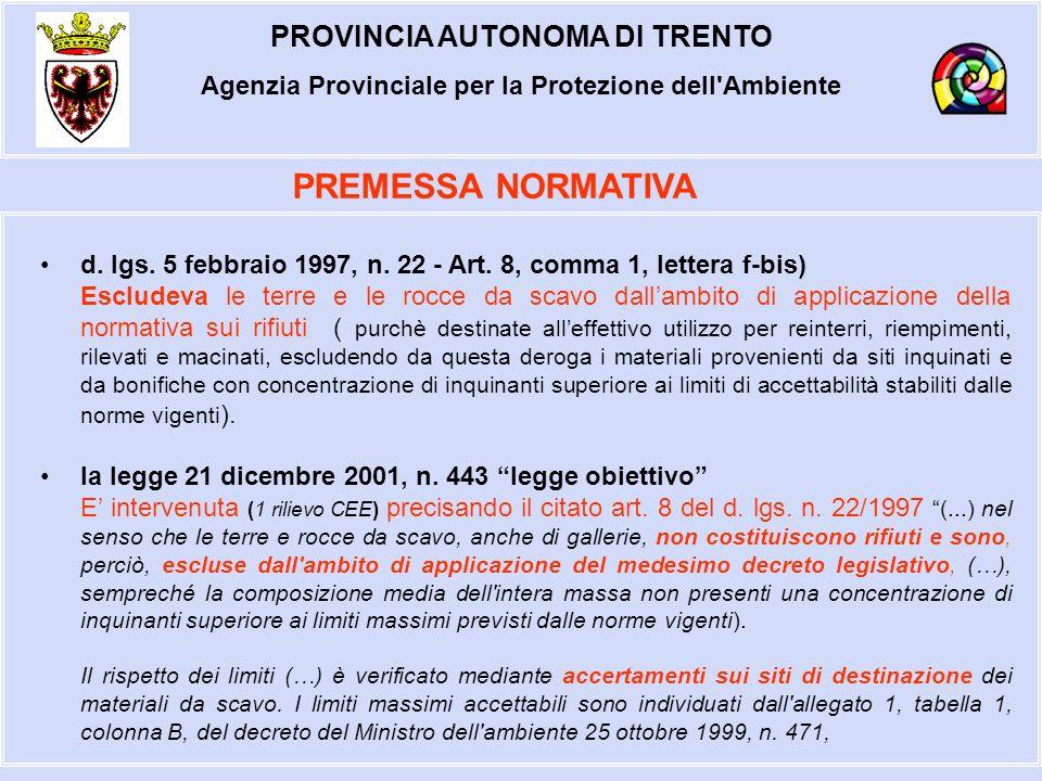 PROVINCIA AUTONOMA DI TRENTO Agenzia Provinciale per la Protezione dell Ambiente TULP - Art.