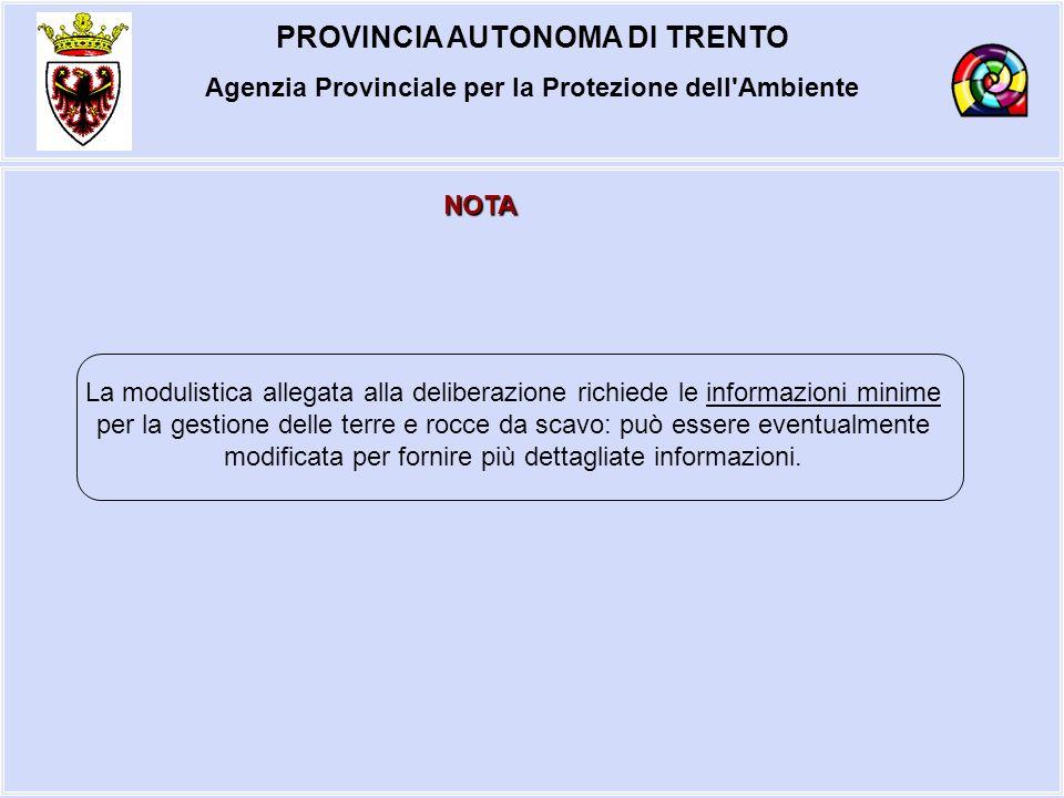 PROVINCIA AUTONOMA DI TRENTO Agenzia Provinciale per la Protezione dell'Ambiente NOTA La modulistica allegata alla deliberazione richiede le informazi