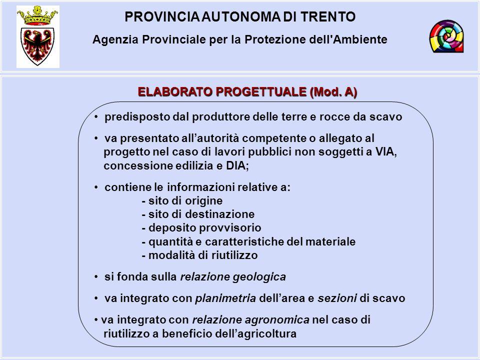 PROVINCIA AUTONOMA DI TRENTO Agenzia Provinciale per la Protezione dell'Ambiente ELABORATO PROGETTUALE (Mod. A) predisposto dal produttore delle terre