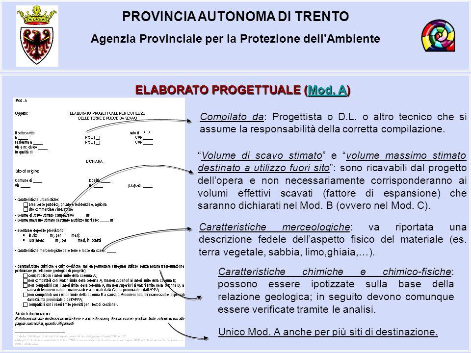 PROVINCIA AUTONOMA DI TRENTO Agenzia Provinciale per la Protezione dell'Ambiente ELABORATO PROGETTUALE (Mod. A) Mod. AMod. A Volume di scavo stimato e
