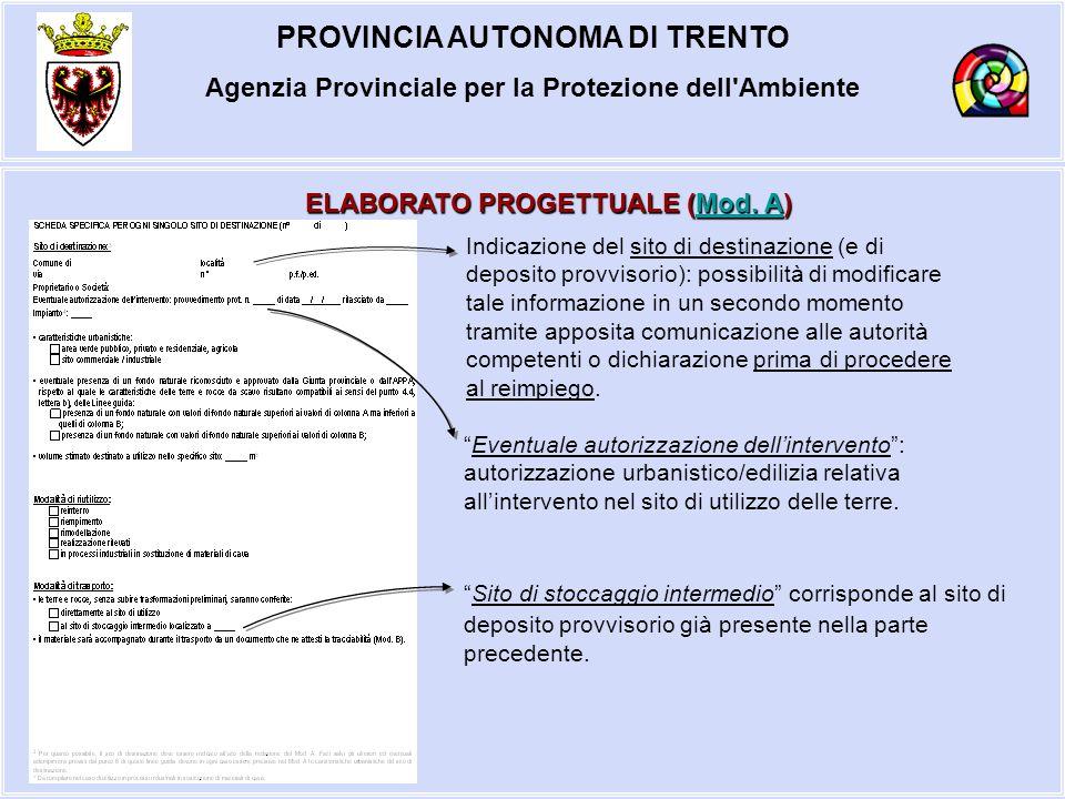 PROVINCIA AUTONOMA DI TRENTO Agenzia Provinciale per la Protezione dell'Ambiente ELABORATO PROGETTUALE (Mod. A) Mod. AMod. A Indicazione del sito di d