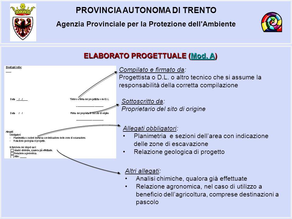 PROVINCIA AUTONOMA DI TRENTO Agenzia Provinciale per la Protezione dell'Ambiente ELABORATO PROGETTUALE (Mod. A) Mod. AMod. A Compilato e firmato da: P