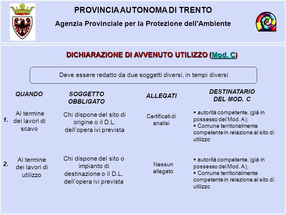PROVINCIA AUTONOMA DI TRENTO Agenzia Provinciale per la Protezione dell'Ambiente DICHIARAZIONE DI AVVENUTO UTILIZZO (Mod. C) Mod. CMod. C Chi dispone