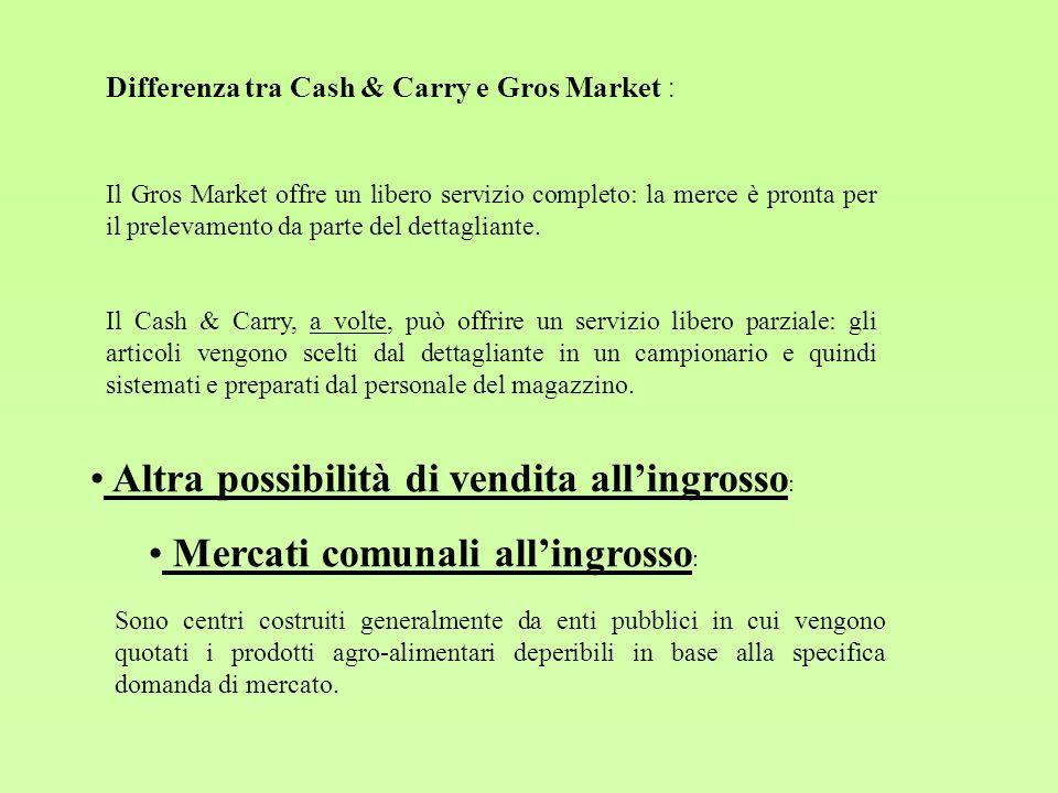 Differenza tra Cash & Carry e Gros Market : Il Gros Market offre un libero servizio completo: la merce è pronta per il prelevamento da parte del detta