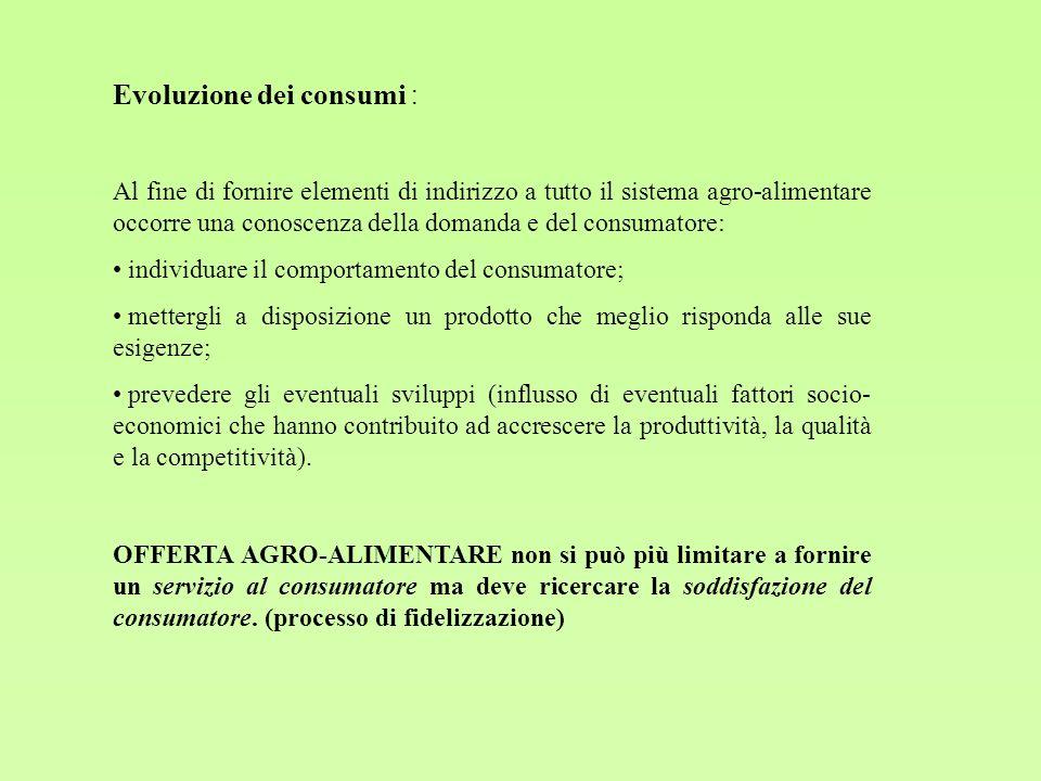 Al fine di fornire elementi di indirizzo a tutto il sistema agro-alimentare occorre una conoscenza della domanda e del consumatore: individuare il com