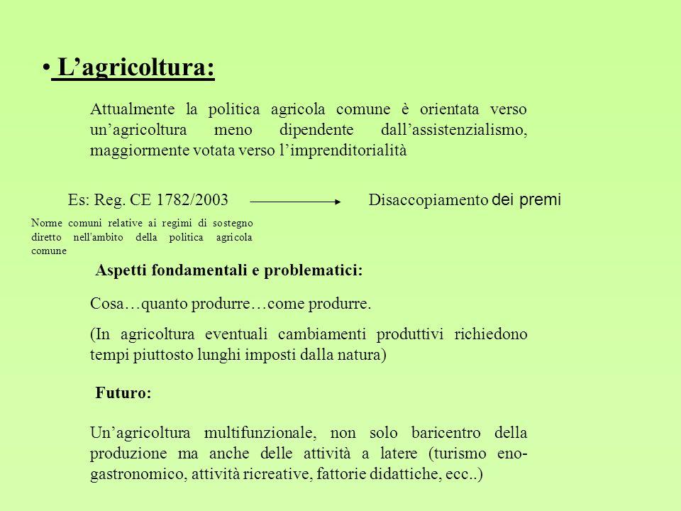 Lagricoltura: Attualmente la politica agricola comune è orientata verso unagricoltura meno dipendente dallassistenzialismo, maggiormente votata verso