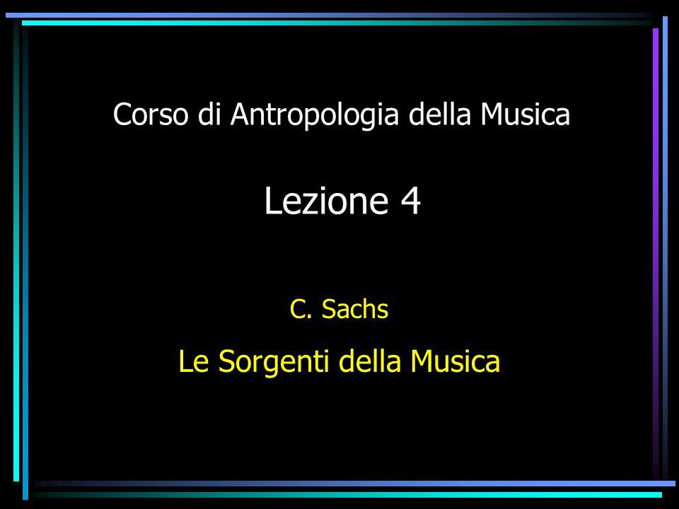Corso di Antropologia della Musica Lezione 4 C. Sachs Le Sorgenti della Musica
