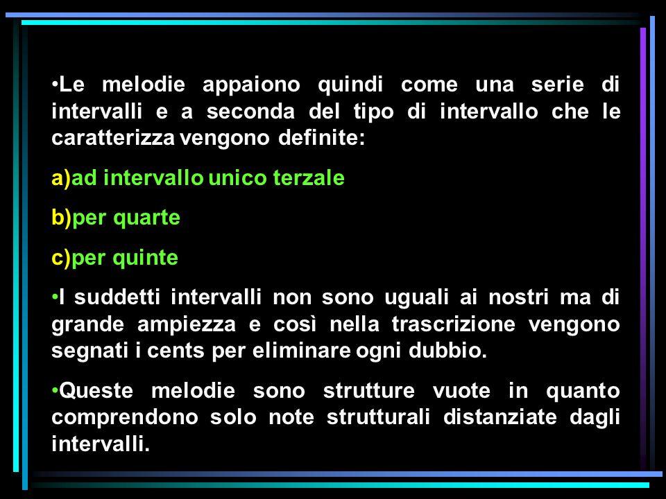 Le melodie appaiono quindi come una serie di intervalli e a seconda del tipo di intervallo che le caratterizza vengono definite: a)ad intervallo unico