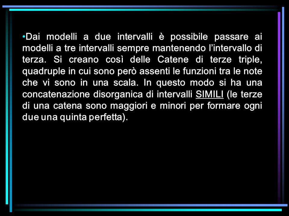 Dai modelli a due intervalli è possibile passare ai modelli a tre intervalli sempre mantenendo lintervallo di terza. Si creano così delle Catene di te