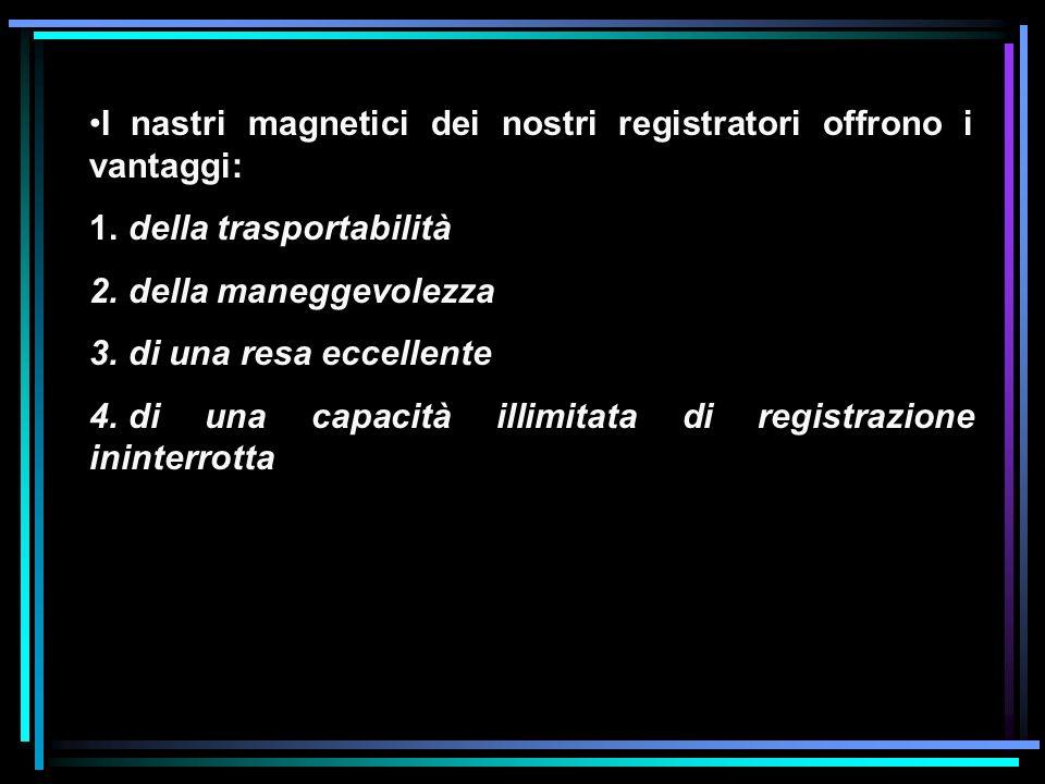 I nastri magnetici dei nostri registratori offrono i vantaggi: 1. della trasportabilità 2. della maneggevolezza 3. di una resa eccellente 4. di una ca