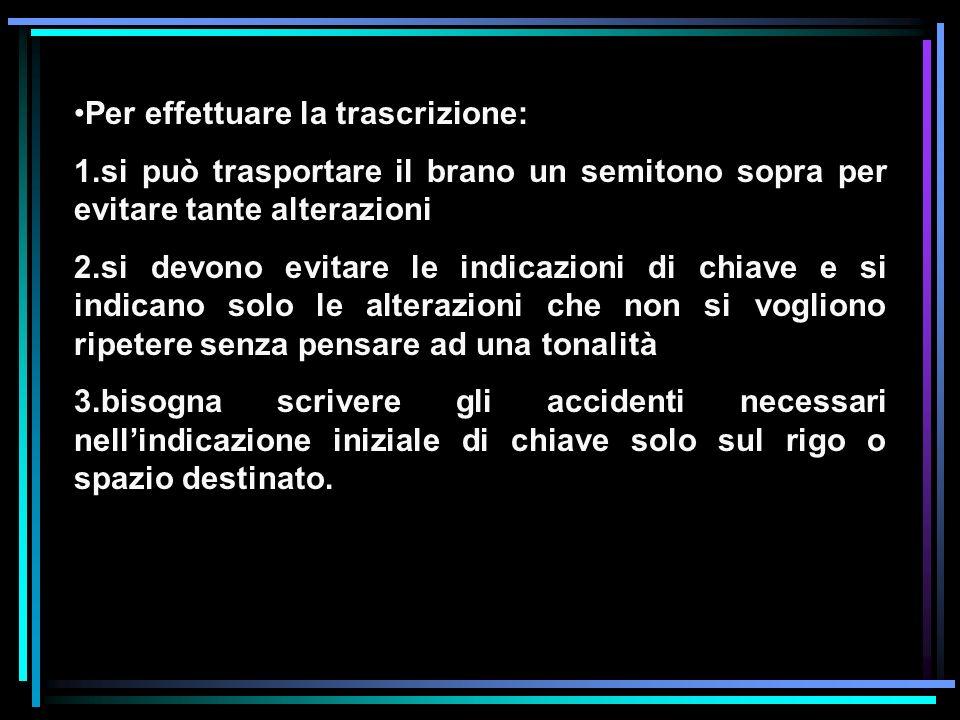 Per effettuare la trascrizione: 1.si può trasportare il brano un semitono sopra per evitare tante alterazioni 2.si devono evitare le indicazioni di ch