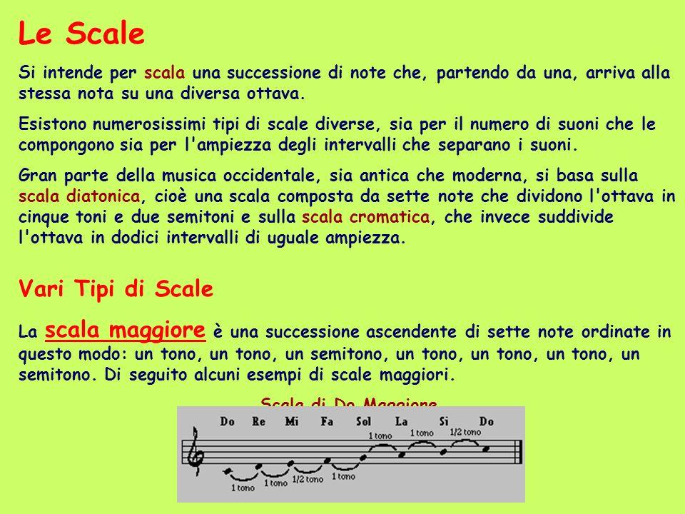 Le Scale Si intende per scala una successione di note che, partendo da una, arriva alla stessa nota su una diversa ottava.