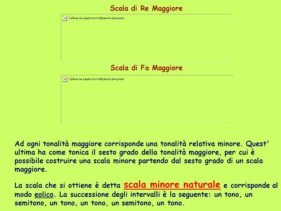 Alcuni esempi: la scala minore naturale di La è costruita sul sesto grado della scala maggiore di Do; la scala minore naturale di Re sul sesto grado della scala maggiore di Fa.