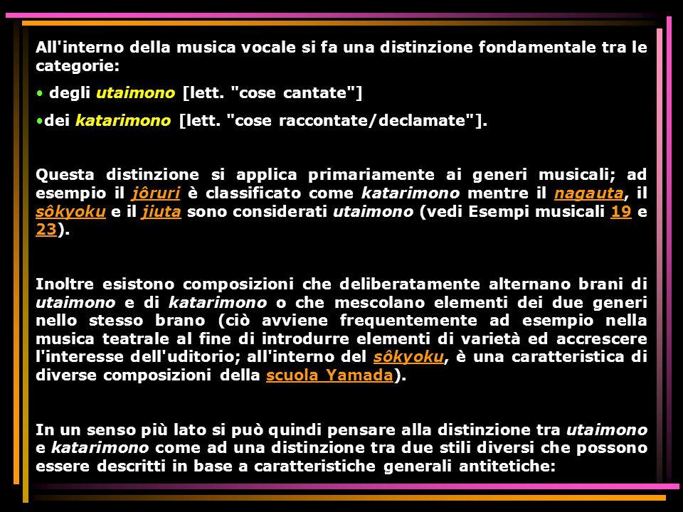 All'interno della musica vocale si fa una distinzione fondamentale tra le categorie: degli utaimono [lett.