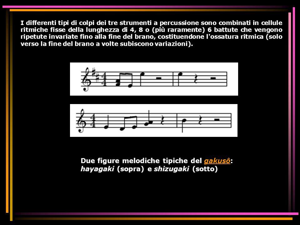 I differenti tipi di colpi dei tre strumenti a percussione sono combinati in cellule ritmiche fisse della lunghezza di 4, 8 o (più raramente) 6 battut