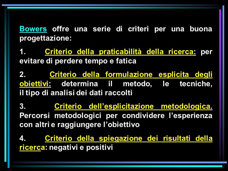 Bowers offre una serie di criteri per una buona progettazione: 1. Criterio della praticabilità della ricerca: per evitare di perdere tempo e fatica 2.