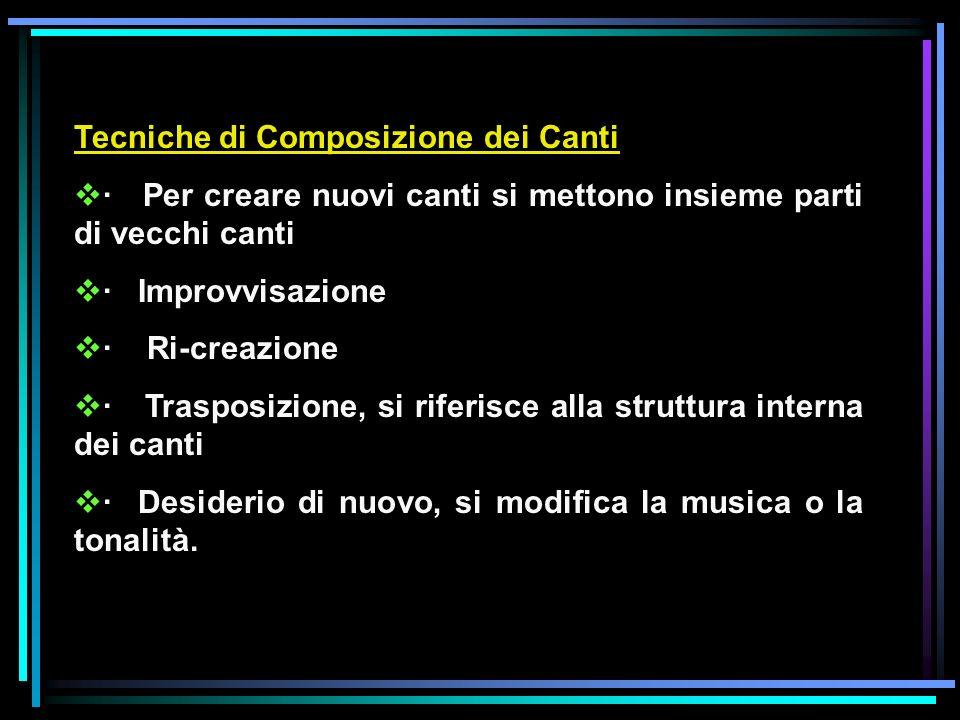 Tecniche di Composizione dei Canti · Per creare nuovi canti si mettono insieme parti di vecchi canti · Improvvisazione · Ri-creazione · Trasposizione, si riferisce alla struttura interna dei canti · Desiderio di nuovo, si modifica la musica o la tonalità.