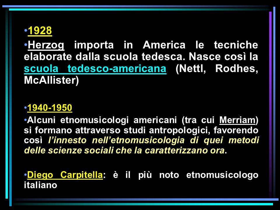1928 Herzog importa in America le tecniche elaborate dalla scuola tedesca. Nasce così la scuola tedesco-americana (Nettl, Rodhes, McAllister) 1940-195