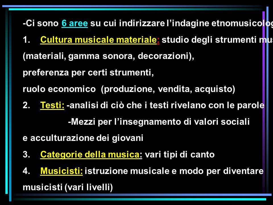 -Ci sono 6 aree su cui indirizzare lindagine etnomusicologica: 1. Cultura musicale materiale: studio degli strumenti musicali (materiali, gamma sonora