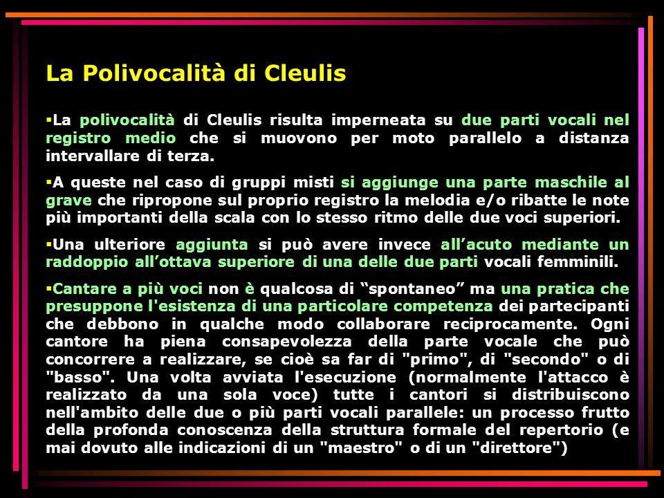 La Polivocalità di Cleulis La polivocalità di Cleulis risulta imperneata su due parti vocali nel registro medio che si muovono per moto parallelo a di
