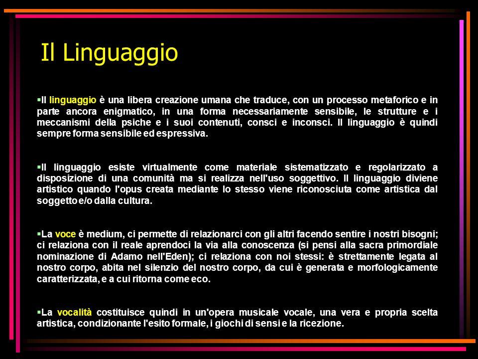 Il Linguaggio Il linguaggio è una libera creazione umana che traduce, con un processo metaforico e in parte ancora enigmatico, in una forma necessaria