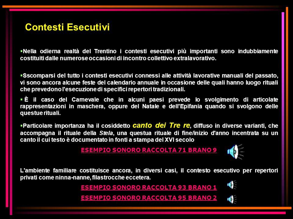 Contesti Esecutivi Nella odierna realtà del Trentino i contesti esecutivi più importanti sono indubbiamente costituiti dalle numerose occasioni di inc