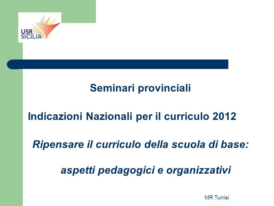 MR Turrisi Seminari provinciali Indicazioni Nazionali per il curriculo 2012 Ripensare il curriculo della scuola di base: aspetti pedagogici e organizz