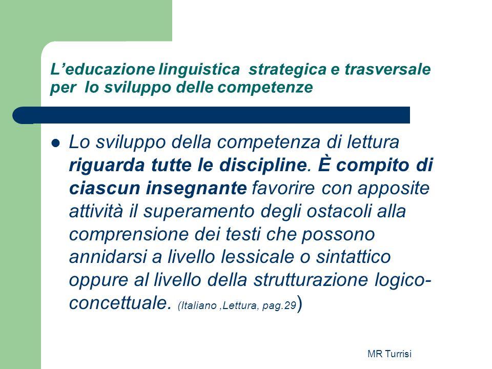 MR Turrisi Leducazione linguistica strategica e trasversale per lo sviluppo delle competenze Lo sviluppo della competenza di lettura riguarda tutte le