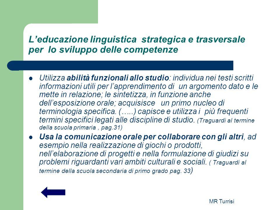 MR Turrisi Leducazione linguistica strategica e trasversale per lo sviluppo delle competenze Utilizza abilità funzionali allo studio: individua nei te