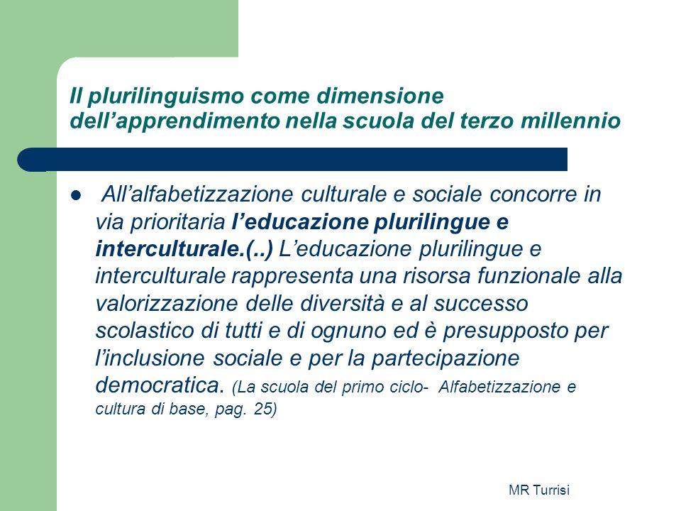 MR Turrisi Il plurilinguismo come dimensione dellapprendimento nella scuola del terzo millennio Allalfabetizzazione culturale e sociale concorre in vi