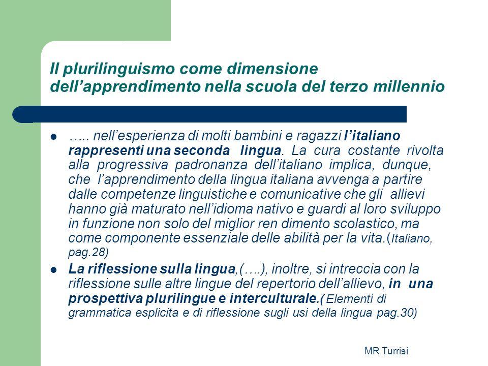MR Turrisi Il plurilinguismo come dimensione dellapprendimento nella scuola del terzo millennio ….. nellesperienza di molti bambini e ragazzi litalian