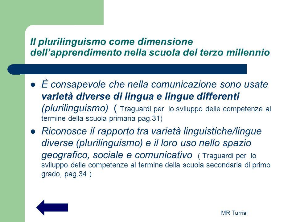 MR Turrisi Il plurilinguismo come dimensione dellapprendimento nella scuola del terzo millennio È consapevole che nella comunicazione sono usate varie