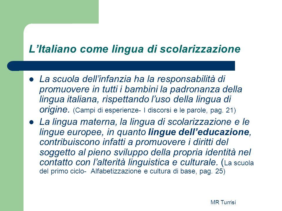 MR Turrisi LItaliano come lingua di scolarizzazione La scuola dellinfanzia ha la responsabilità di promuovere in tutti i bambini la padronanza della l