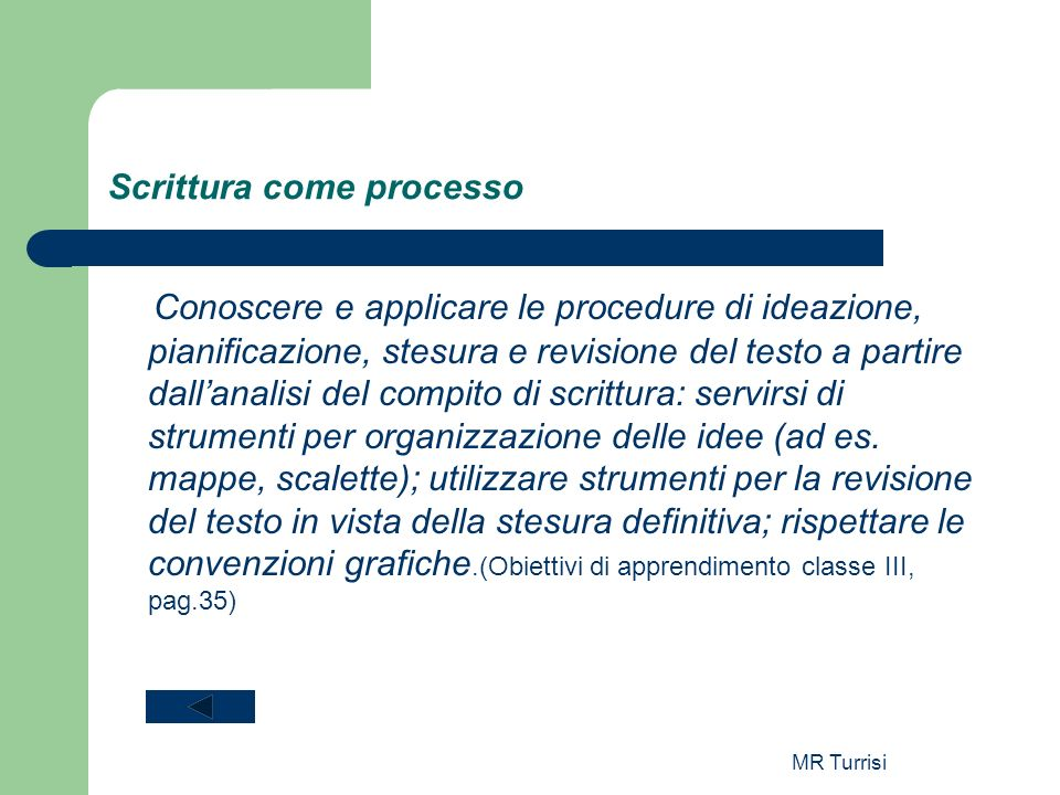 MR Turrisi Scrittura come processo Conoscere e applicare le procedure di ideazione, pianificazione, stesura e revisione del testo a partire dallanalis