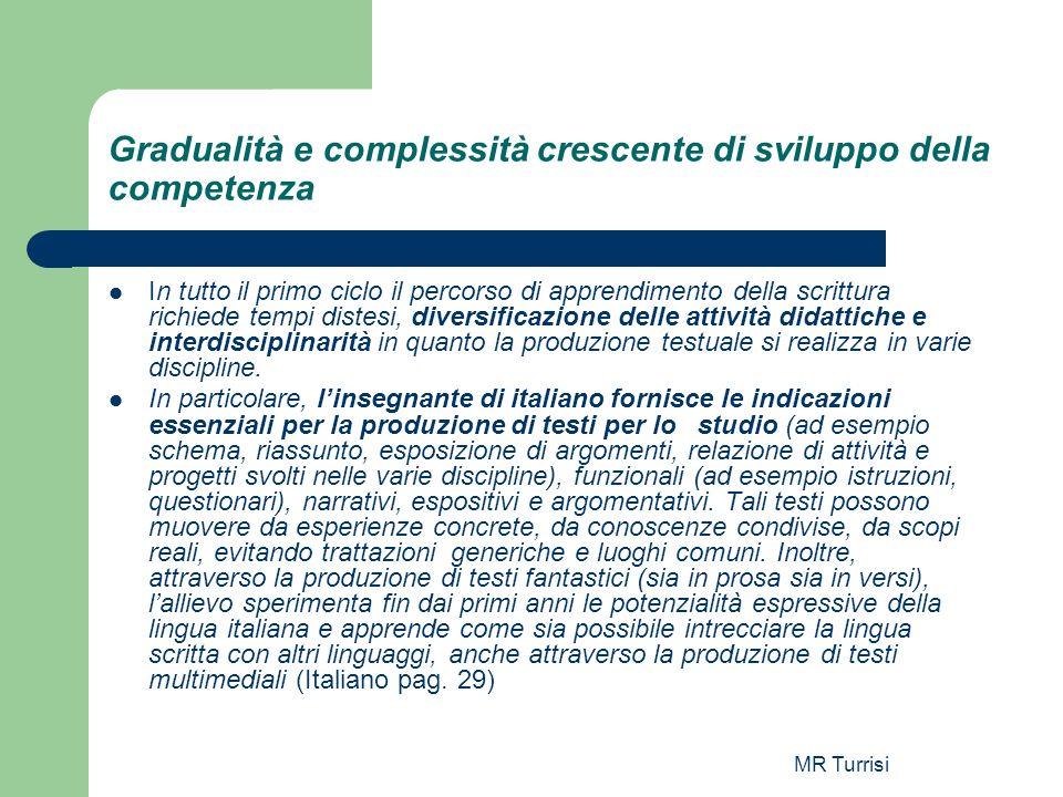 MR Turrisi Gradualità e complessità crescente di sviluppo della competenza In tutto il primo ciclo il percorso di apprendimento della scrittura richie