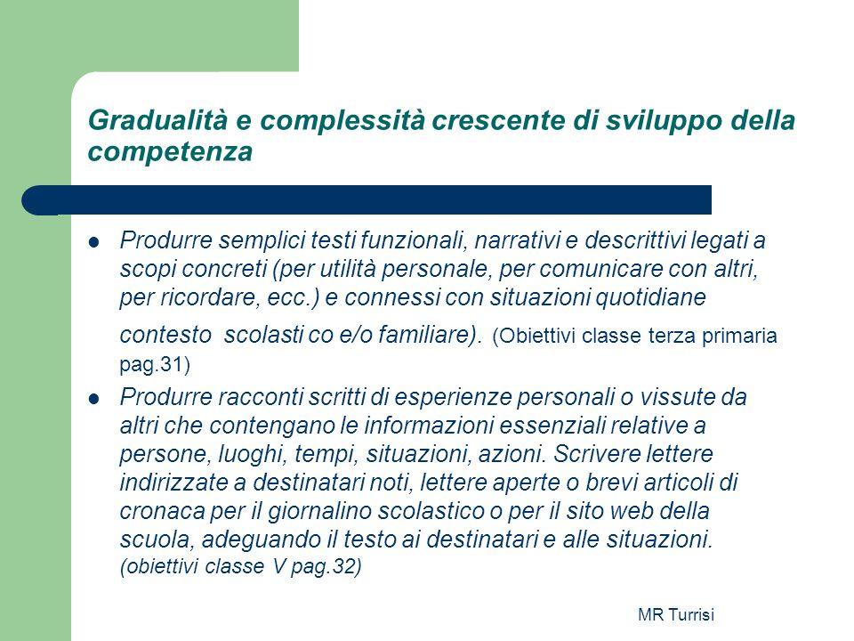 MR Turrisi Gradualità e complessità crescente di sviluppo della competenza Produrre semplici testi funzionali, narrativi e descrittivi legati a scopi