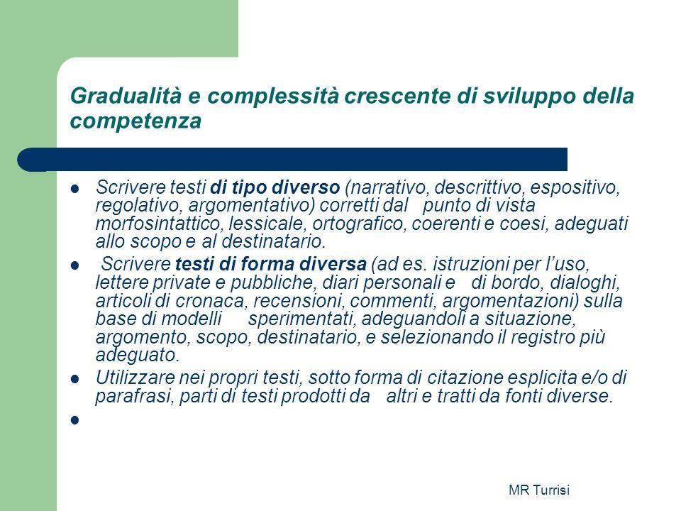 MR Turrisi Gradualità e complessità crescente di sviluppo della competenza Scrivere testi di tipo diverso (narrativo, descrittivo, espositivo, regolat