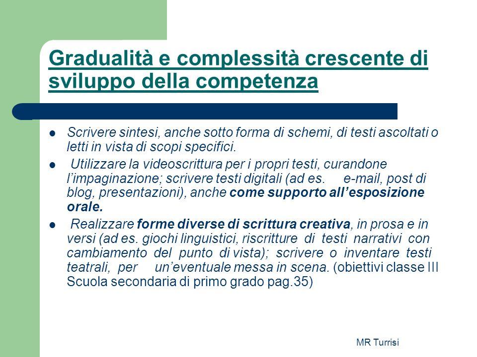 MR Turrisi Gradualità e complessità crescente di sviluppo della competenza Scrivere sintesi, anche sotto forma di schemi, di testi ascoltati o letti i