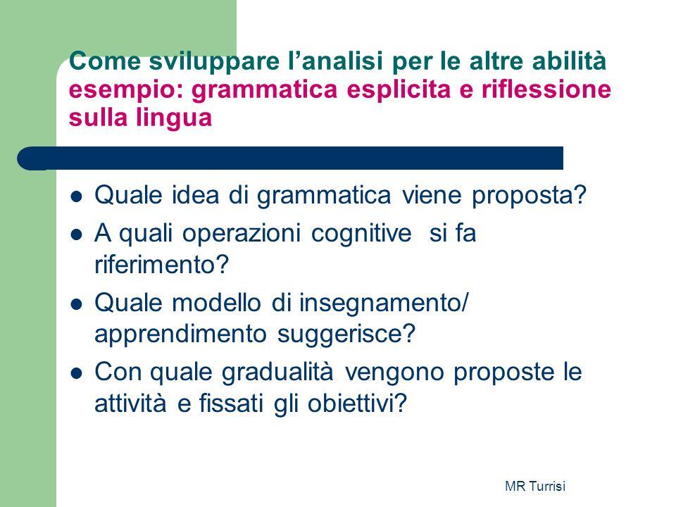 MR Turrisi Come sviluppare lanalisi per le altre abilità esempio: grammatica esplicita e riflessione sulla lingua Quale idea di grammatica viene propo